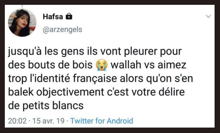 Un membre du Bureau National de l'UNEF, une certaine Hafsa, se «fiche de l'histoire de France… on s'en balek, c'est votre délire de petits blancs»