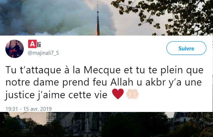 «La cathédrale brûle parce que vous vous êtes moqué de La Mecque… Allah Akbar y' une justice… une mosquée à la place !» effusions de joie sur les réseaux sociaux