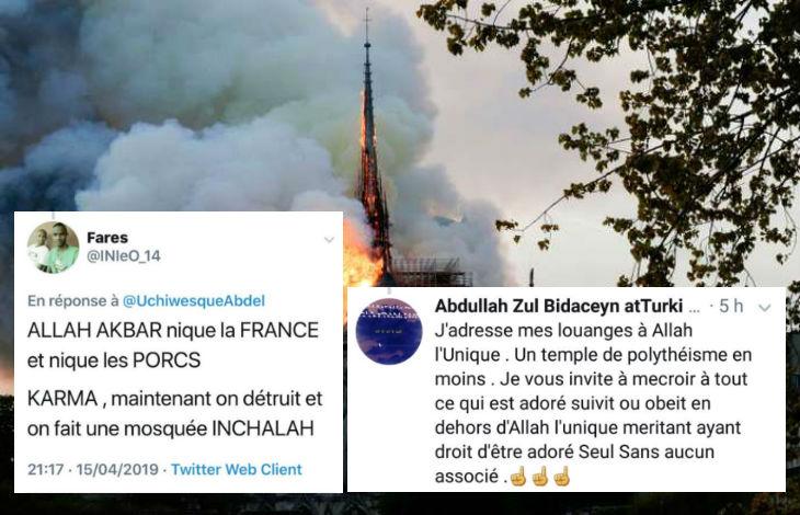 Réactions de joie de la «religion de paix et d'amour» se multiplient suite à l'incendie de Notre-Dame «Allah Akbar nique la France et nique les porcs» (Vidéo)