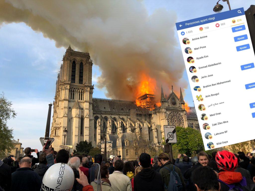 Sur les réseaux sociaux, l'anti-France se réjouit publiquement de la destruction de Notre-Dame