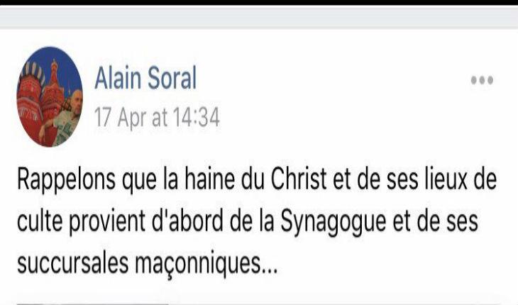 L'antisémite Soral utilise l'incendie de Notre-Dame pour déverser sa haine des Juifs. Quand va-t-il enfin aller en prison ?