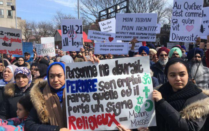 «Le Québec, ce n'est pas la France, vive la différence !»: les islamistes manifestent contre la loi sur la laïcité à Montréal