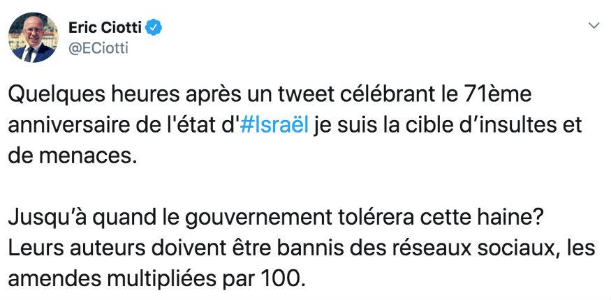 Eric Ciotti est la cible d'insultes et de menaces après avoir tweeté sur le 71ème anniversaire de l'état d'Israël