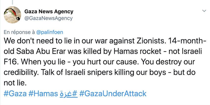 Les médias français ont menti volontairement pour accuser Israël : Une agence palestinienne confirme que le bébé palestinien et sa mère ont été tués par une roquette palestinienne, pas israélienne !