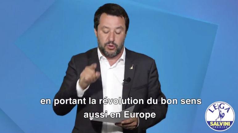"""""""Redonner la dignité au peuple français"""" : Salvini appelle à voter RN (Vidéo)"""