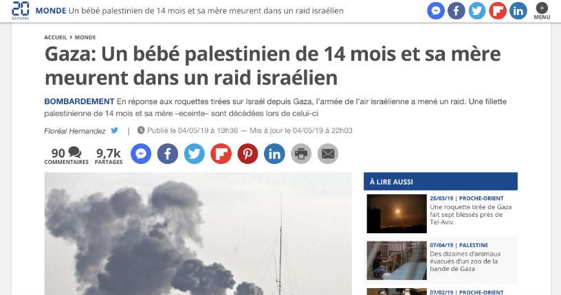 Fake news du Hamas reprise par les médias français sur la mort d'un bébé : l'enfant et sa mère enceinte tués à Gaza sont mort d'un tir de roquette palestinien et non d'une frappe israélienne