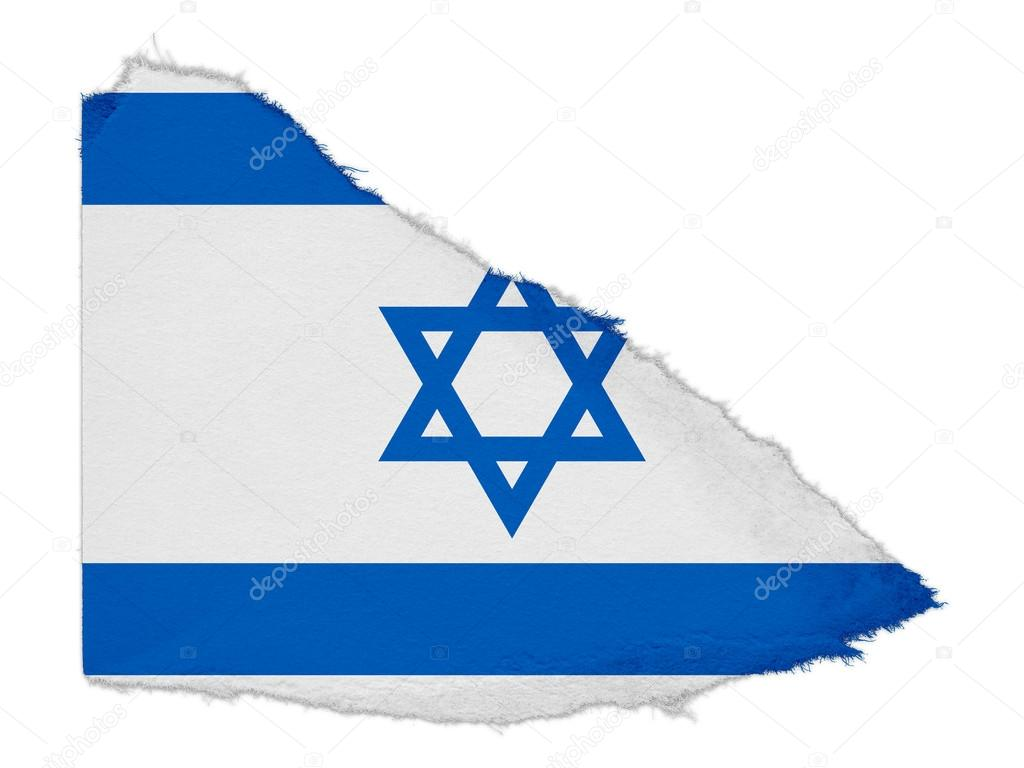 DRAPEAU -photo-flag-of-israel-torn-paper