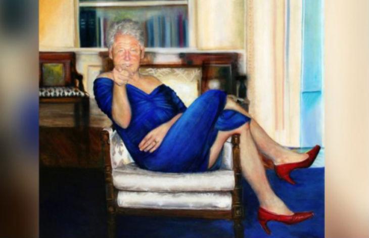 Selon le New York Post, un tableau représentant l'ancien président américain Bill Clinton portant une robe bleue et des talons rouges aurait trôné dans la maison de Jeffrey Epstein à Manhattan