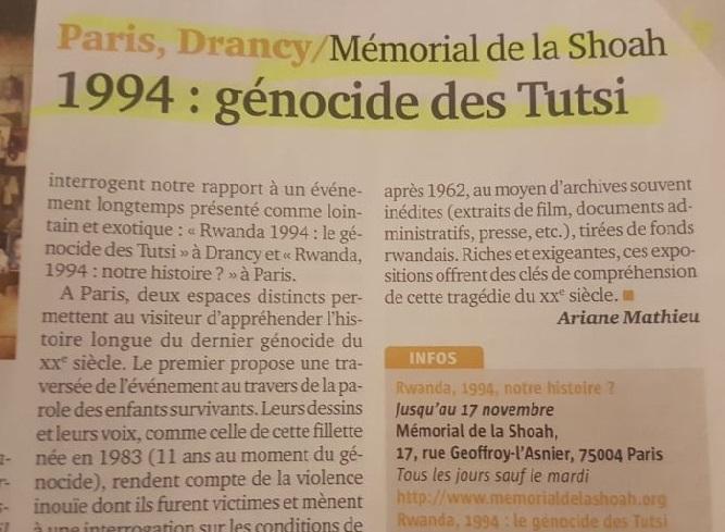 Exposition sur le massacre des Tutsi au… Mémorial de la Shoah : le confusionnisme de ses dirigeants est une infamie