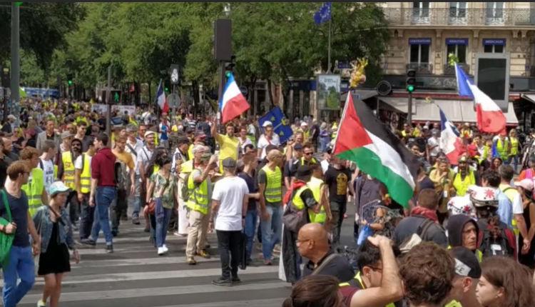 drapeau palestinien gilets jaune acte 38