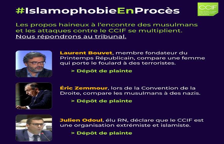 Le CCIF, Collectif contre l'islamophobie en France, porte plainte contre Zemmour, Odoul, Bouvet, les « ennemis de la liberté »