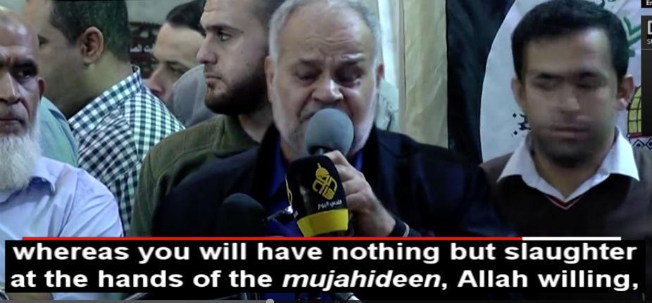 Le chef du Djihad islamique à Gaza : «Si les sionistes ne quittent pas « l'entité », nous les massacrerons de nos propres mains» (Vidéo)