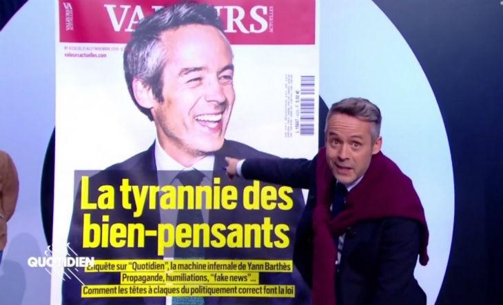 Le menteur et manipulateur «bien pensant» Yann Barthès, furax d'être dévoilé, tente de se venger de Valeurs Actuelles