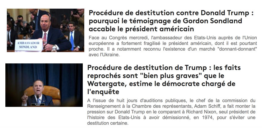 Destitution de Trump: l'audition du principal témoin, Sondland, disculpe le président Trump. Cela n'empêche pas les médias français d'affirmer le contraire. La preuve…