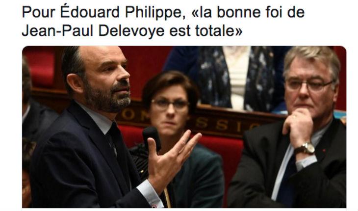 Dix mandats «oubliés» par Delevoye lors de sa déclaration d'intérêts. Edouard philippe l'estime de «bonne foi». Seuls les citoyens français sont condamnés quand ils «oublient» de déclarer, pas les gouvernants