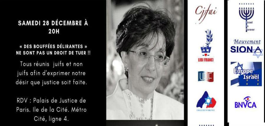 Rassemblement «Justice pour Sarah Halimi» le samedi 28 décembre à 20h devant le palais de justice à Paris