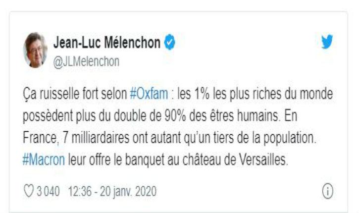 Oxfam : Mélenchon dénonce les 1 % les plus riches… mais il en fait partie