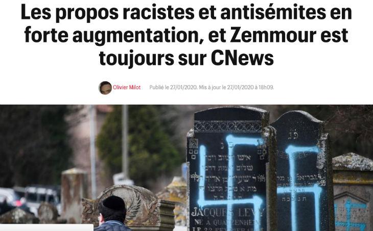 """Quand Télérama invente un lien entre Éric Zemmour et l'augmentation des """"propos racistes et antisémites"""""""