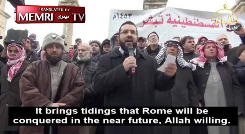 Un imam palestinien «»Nous allons bientôt rétablir le califat, libérer Jérusalem et conquérir Rome» (Vidéo)