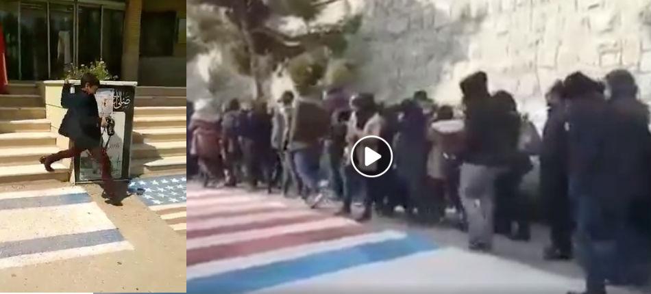 Iran: Les étudiants, mais aussi les enfants et les professeurs refusent de piétiner les drapeaux israéliens et américains (Vidéos)