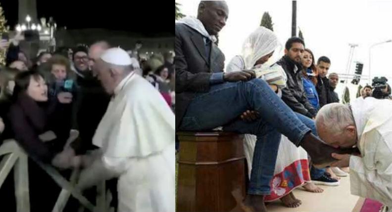 Le pape François s'énerve et frappe une fidèle, mais baise les pieds des migrants…