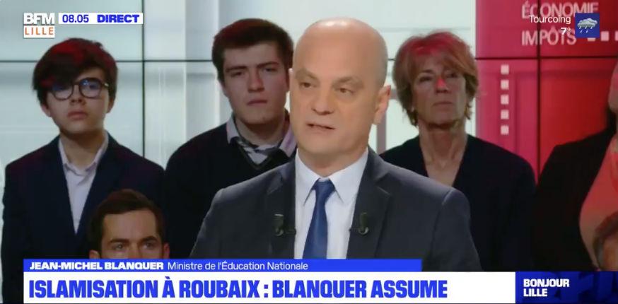Jean-Michel Blanquer assume ses propos sur l'islamisation à Roubaix (Vidéo)