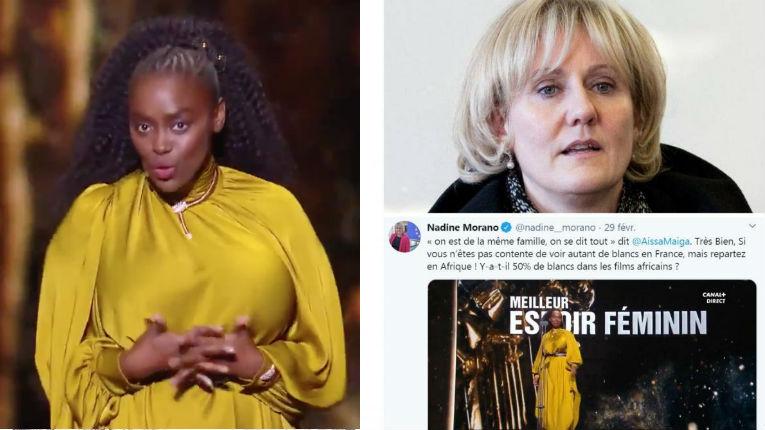 """Après les César, Nadine Morano propose à l'actrice qui comptait les """"noirs"""" dans la salle de """"repartir en Afrique"""""""