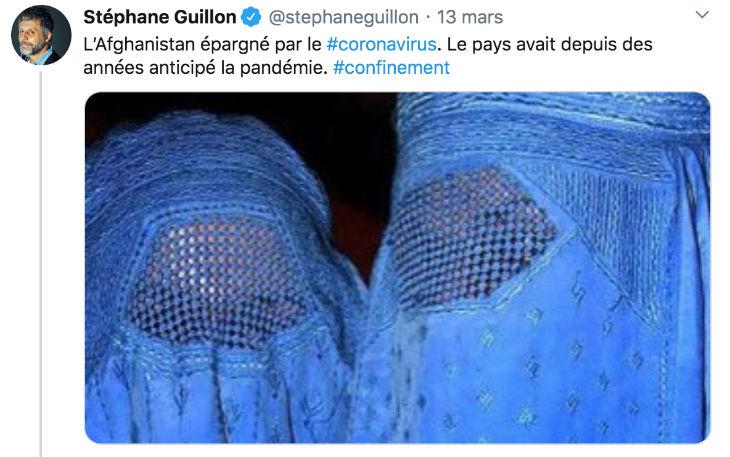 Stéphane Guillon tweet «L'Afghanistan épargné par le coronavirus. Le pays avait depuis des années anticipé la pandémie». Accusé de «racisme» par les musulmans