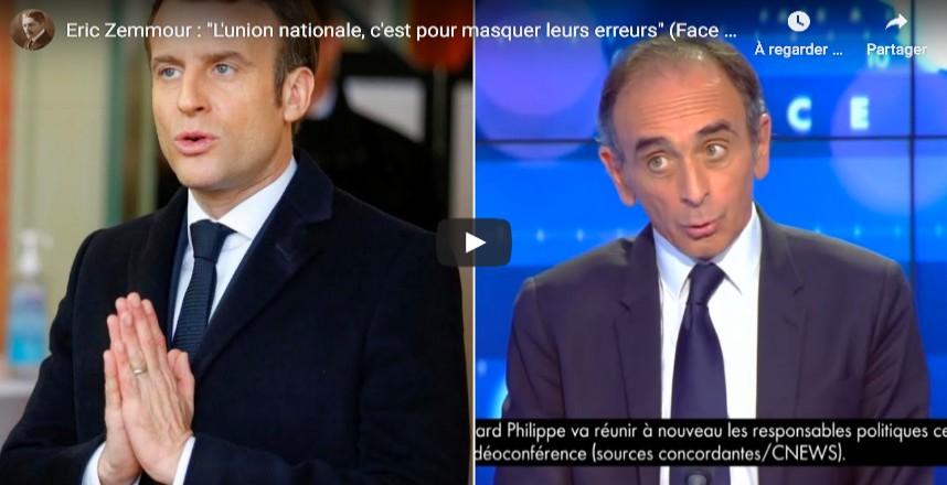 Zemmour : « Le gouvernement parle d'union nationale, c'est pour masquer ses erreurs. Il n'a pas cessé de mentir depuis le début de la crise, il n'y a aucune raison de l'épargner » (Vidéo)