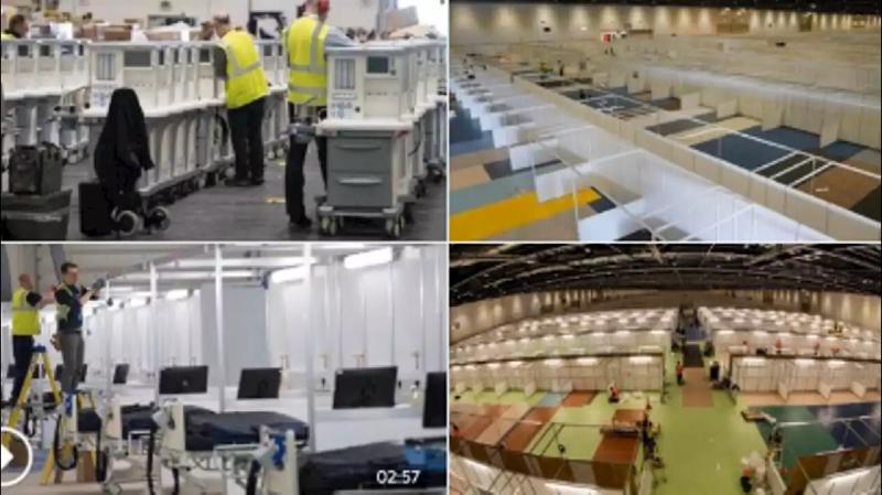 S'il a fallut 6 jours pour installer un hôpital de 30 lits à Mulhouse, à Londres, un hôpital de campagne de 4000 lits installé en moins de 10 jours (Vidéo)