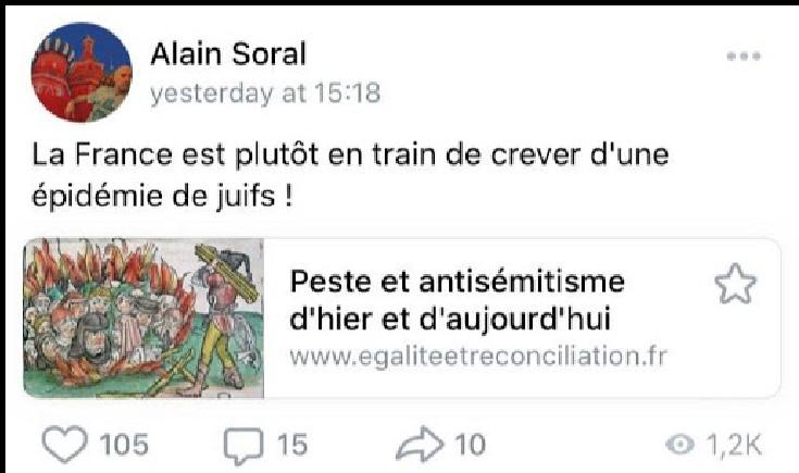 Pour le nazi décérébré Soral «la France est en train de crever d'une épidémie de juifs !»