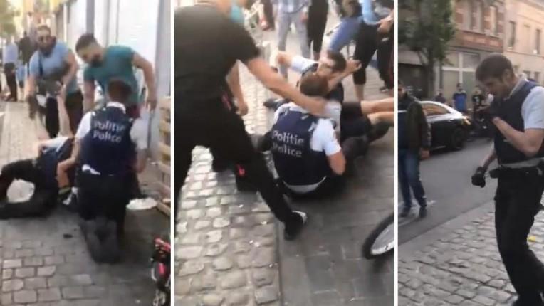 Bruxelles : Des policiers finissent au sol agressés par une foule haineuse de racailles à Anderlecht. «Cela ne peut continuer ainsi» dénonce un syndicat (Vidéo)