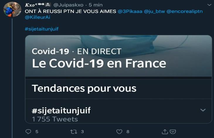 """"""" #sijetaitunjuif """": un hashtag antisémite en tête des recommandations Twitter"""