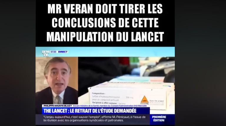 Philippe Douste-Blazy demande à Olivier Véran de tirer les conclusions de cette manipulation du Lancet et d'abroger le décret d'interdiction de prescrire (Vidéo)