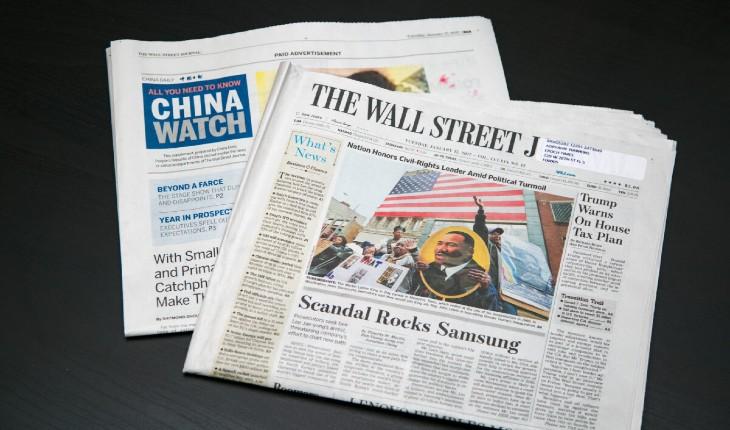 Une agence de propagande chinoise a versé des millions au Washington Post et à Wall Street Journal