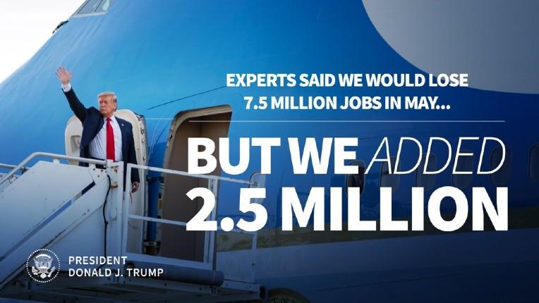 Etats Unis, effet Trump: énorme baisse du chômage en mai. 2,5 millions d'emplois créés
