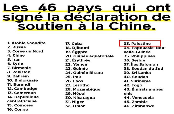 A l'ONU, la Palestine apporte son soutien à la répression chinoise des musulmans Ouighours et à leur stérilisation forcée