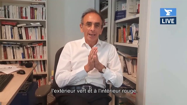 Zemmour : « Les Verts se moquent complètement de la France. Ce sont des vrais internationalistes, des vrais mondialistes. Ils sont verts à l'extérieur, rouges à l'intérieur » (Vidéo)
