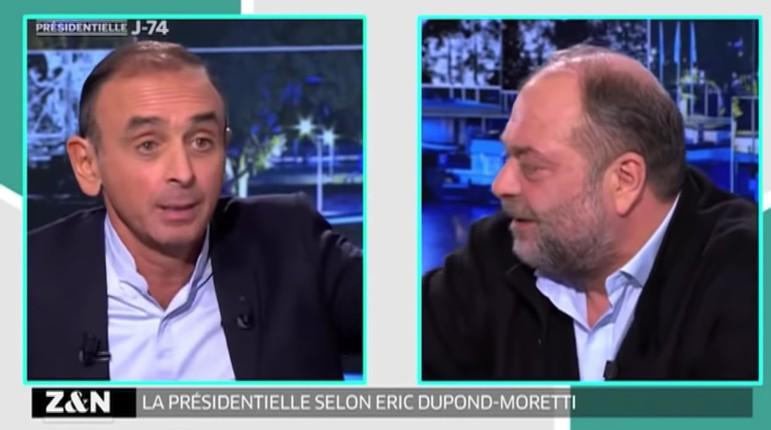"""""""Vous êtes un ringard"""" : quand Zemmour clashait Dupond-Moretti qui soutenait l'immigration et voulait interdire le RN (Vidéo)"""