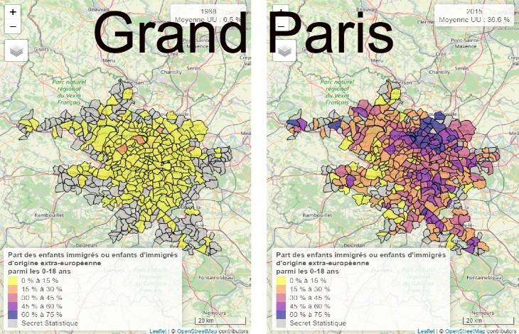Les preuves du Grand remplacement : Évolution 1968-2015 de la part des enfants d'immigré dans les grandes villes françaises (Source officielle)