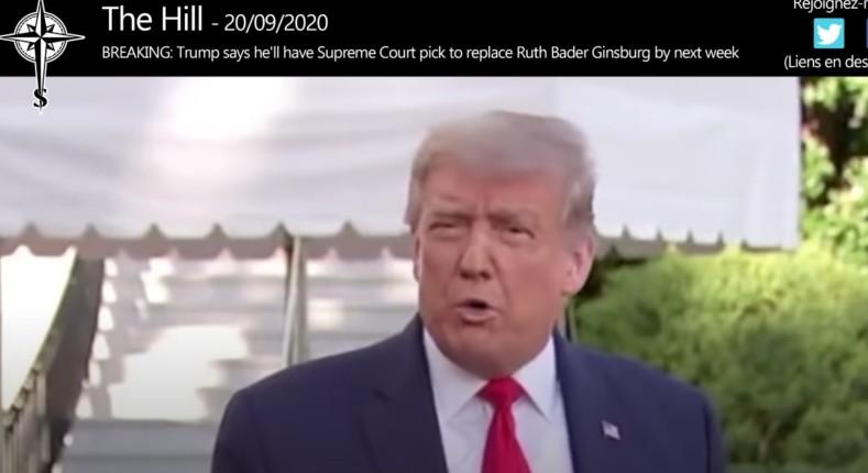Le président Trump choisira un nouveau juge à la cour suprême la semaine prochaine (Vidéo)