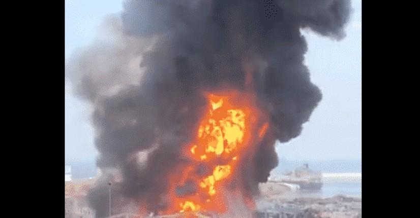 Breaking news: Un important incendie dans le port de Beyrouth, au Liban (Vidéo)