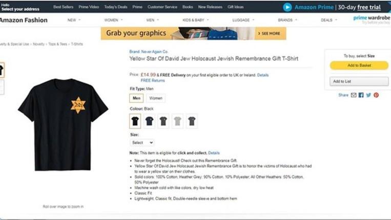 Des t-shirt avec des étoiles jaunes ont été vendues sur Amazon
