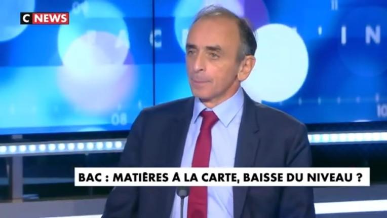 """Zemmour : """"Le niveau de l'école en France est catastrophique. Les profs reçoivent des consignes pour remonter les notes. Un 16 à Bobigny vaut un 8 à Henri IV"""" (Vidéo)"""