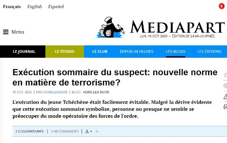 """Scandaleux : Mediapart diffuse un article qui dénonce la """"barbarie"""" de la police contre le terroriste islamiste de Conflans"""