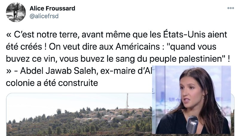 Alice Froussard sang des palestiniens
