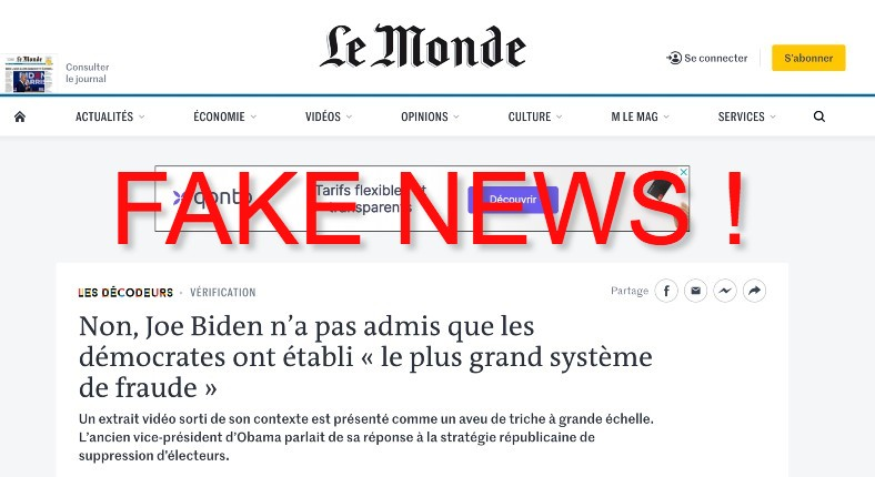 Le Monde Joe Biden fake news