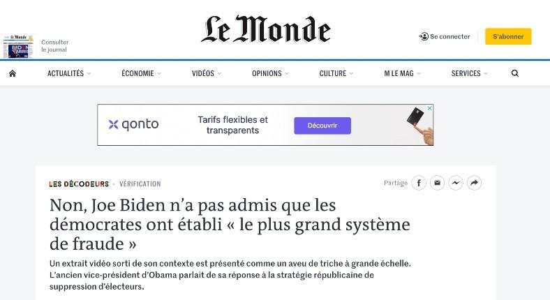 Le Monde Joe Biden