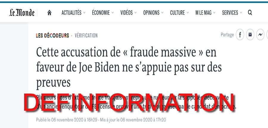 désinformation du Monde fraude électorale