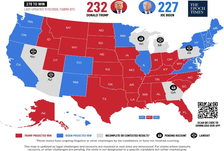 Elections US: Les républicains poursuivent 16 procédures judiciaires dans plusieurs états, rien n'est encore joué et Biden pourrait ne pas atteindre les 270 sièges avant le 8 décembre contrairement aux affirmations des médias (Vidéo)